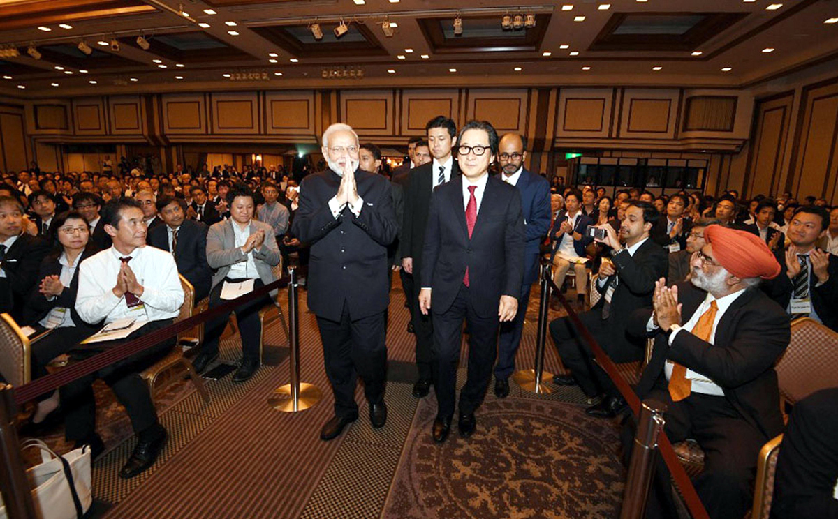 Prime Minister, Narendra Modi at the 'Make in India, Digital Partnership and India-Japan Partnership in Africa' seminar in Japan on Monday. (UNI)