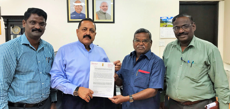 Union Minister Dr Jitendra Singh receiving a memorandum from a delegation of MES Engineers, led by former Rajya Sabha MP Ambeth Rajan, at New Delhi on Wednesday.