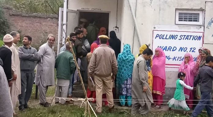 People thronging a polling station in Kishtwar on Wednesday.