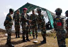 GOC 16 Corps Lt Gen Paramjit Singh meeting Army soldiers in Surankote on Thursday.