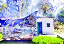 An Army hut damaged in a blast in Poonch on Tuesday. -Excelsior/Harbhajan