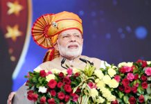 Prime Minister Narendra Modi addressing the gathering at a function at Shirdi Maharashtra on Friday.