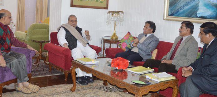 Governor Satya Pal Malik presiding over the SAC meeting in Srinagar on Wednesday.