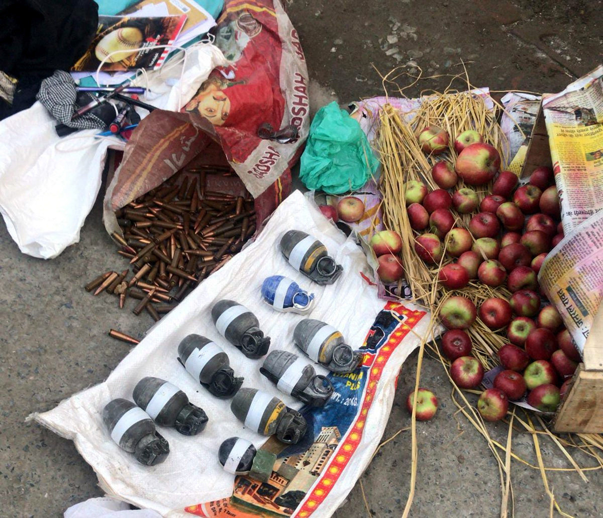 Explosive and ammunition recovered from three arrested militants in Srinagar on Monday.