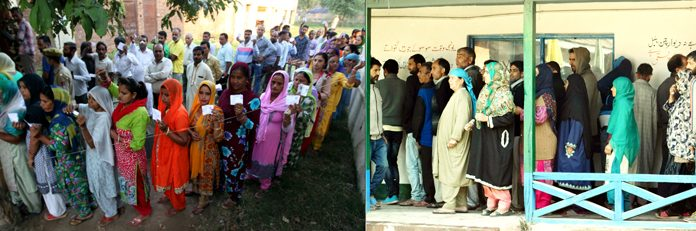 Long queue of voters in R S Pura (left) and women casting votes in Hamdhania Colony, Bemina in Srinagar on Monday. -Excelsior pics by Rakesh & Shakeel