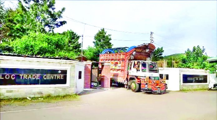 A Pak truck loaded with goods coming out of LoC Trade Centre, Poonch on Thursday. -Excelsior/Ramesh Bali