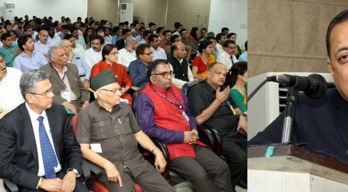 Union Minister, Dr Jitendra Singh addressing a function at Central University Jammu on Thursday. -Excelsior/Rakesh