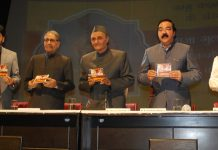 Dr Karan Singh and other dignitaries releasing a DVD of film on Maharaja Gulab Singh at Jammu on Sunday.
