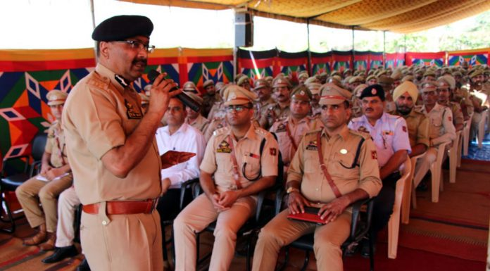 DGP Dilbag Singh addressing police officers and jawans.