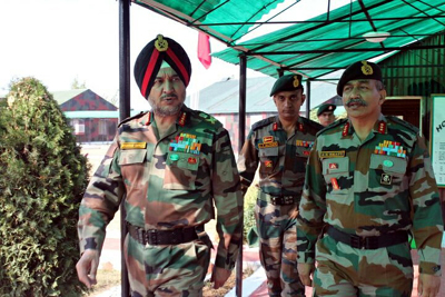 Northern Command chief Lt Gen Ranbir Singh during a visit to Army formation in Kashmir on Sunday.