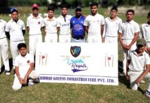 Players of Vriddhi Royals posing for a group photograph after registering win in semifinals.