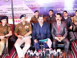 IGP Armed Kashmir and other dignitaries addressing media persons in Srinagar on Saturday.