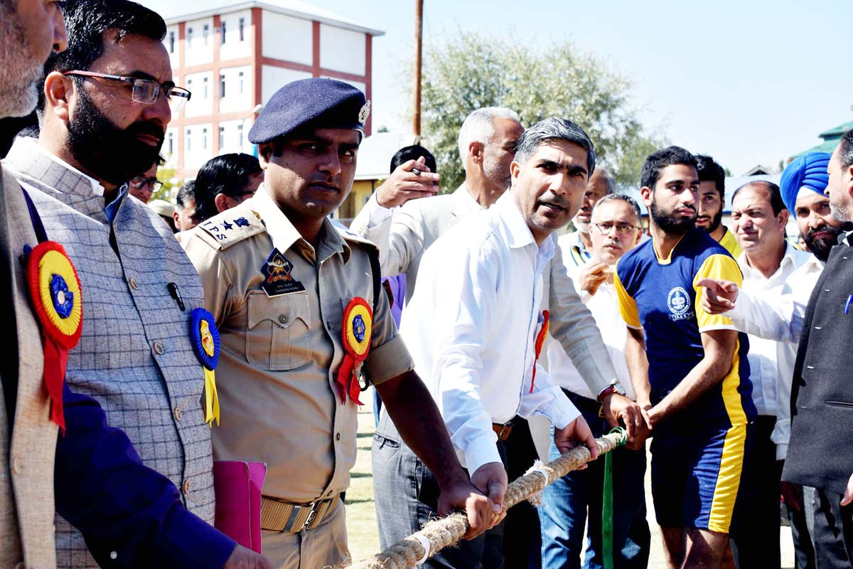 DC Pulwama G Mohd Dar and SSP Pulwama Chandan Kohli inaugurating two days sports festival at District Police Lines Pulwama.