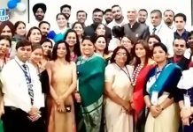 BIS Teachers Pratiba and Grover posing along with other delegates during Awards function organised by Wednesday Times in New Delhi.