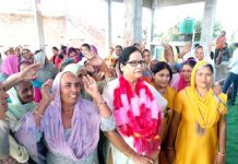 State vice-president, NC Women Wing, Bimla Luthra, along with her supporters at a village in RS Pura tehsil.