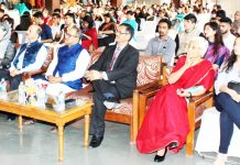 Chief guest Dr Nirmal Singh along with delegates watching the proceedings on the concluding day of Jodhamal Youth Conclave in Jammu.
