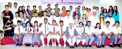 Winners posing along with the dignitaries and officials at APS Damana in Jammu.