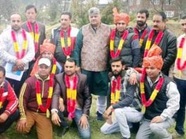 Narayan Singh, president, Shri Amar Kshatriya Sabha posing with office bearers of Bhalla and Bhaderwah tehsil units.