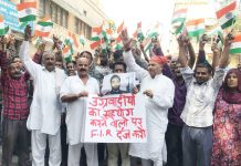 Activists of Dogra Front and Shiv Sena during a protest at Jammu on Tuesday.