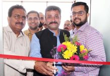 Chairman Team Jammu, Zorawar Singh Jamwal inaugurating Laasya Dance & Aerobics Studio at Jammu on Tuesday.