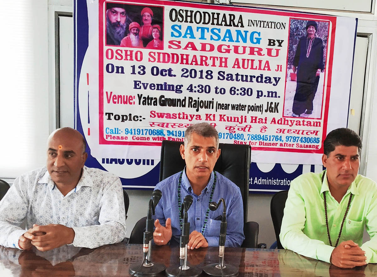 Representatives of Oshodhara at a press conference at Rajouri on Thursday. -Excelsior/Bhat