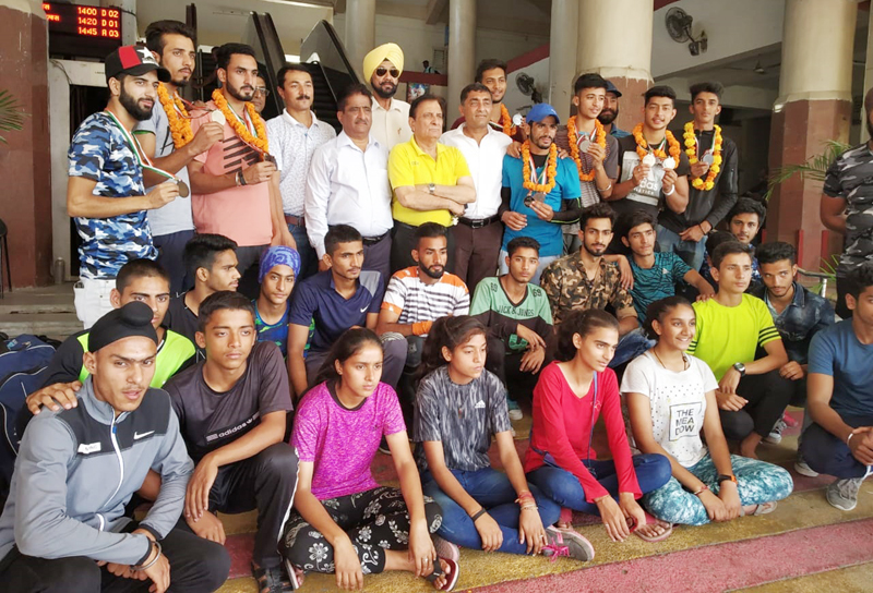 J&K Athletic team posing for a group photograph after excelling in 30th North Zone Jr Championship.