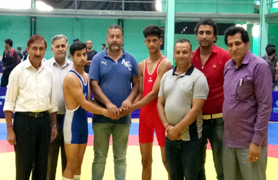 Director Directorate of Sports and Physical Education, University of Jammu Dr Daud Iqbal Baba inaugurating Inter-Collegiate Wrestling Championship.
