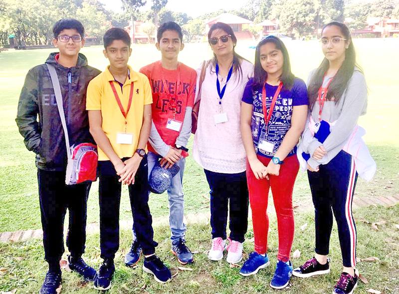 Students of KCPS posing for a photograph during Round Square Leadership Training Camp at Dehradun.