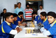Players in action during a match in Chess Tournament.