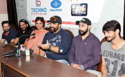 Organisers of 'Raid The Himalaya' Rally addressing media persons in Jammu on Friday. —Excelsior/Rakesh