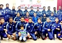 Participants posing along with dignitaries on the concluding ceremony of AIFF D Licence Course at KU in Srinagar.