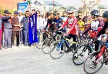 Cycling Expedition being flagged off by DG Sports, Dr Sleem-ur-Rehman in Budgam.