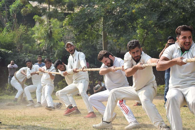 Players in action during Tug-of-War Tournament at Government Polytechnic Bikram Chowk Jammu on Wednesday.