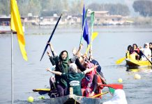 Players in action during District Level Water Sports Championship in Srinagar.
