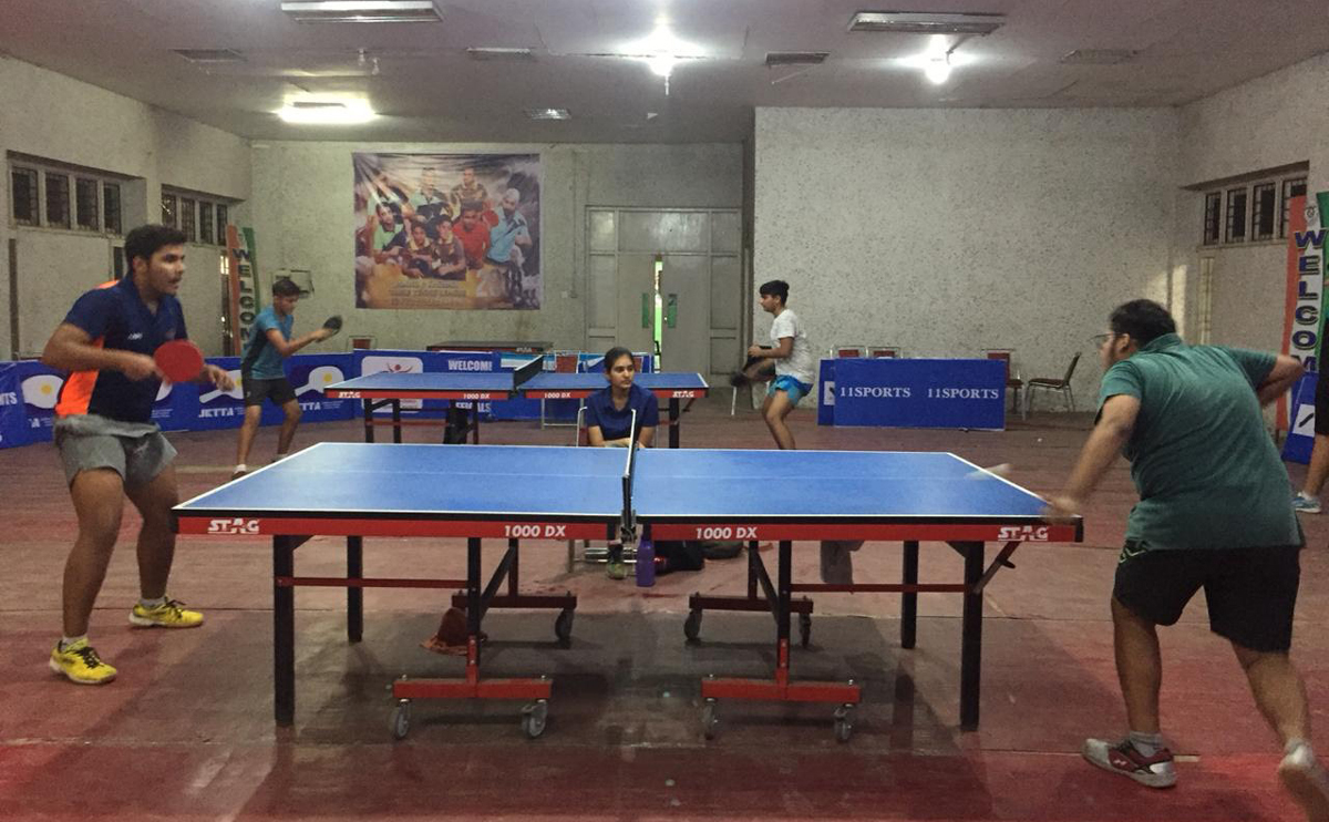 Players in action during a match of 4th 11 Sports Interschool Championships in Jammu.
