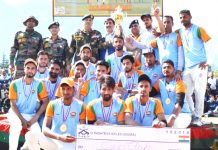 Winners of Chenab Valley Cricket League posing for a group photograph along with dignitaries and offioials.