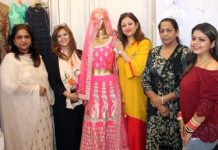 Appearances Proprietor, Designer Sandhya Gupta displaying her fashion work at Jammu on Wednesday.