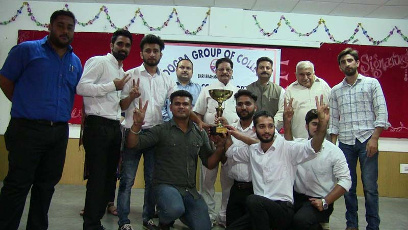 Winners of Sports Meet organised by Dogra Group of Colleges posing along with dignitaries and officials on Wednesday.