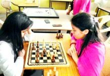 Chess players in action during Sports Meet organised by Dogra Group of Colleges in Samba.