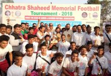Winners of Chhatra Shaheed Memorial Football Tournament posing for a group photograph along with MLA Ch Lal Singh and other dignitaries at GGM Science College ground on Wednesday.