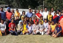 Winners of Kho-Kho Championship posing along with officers and officials of DYSS.