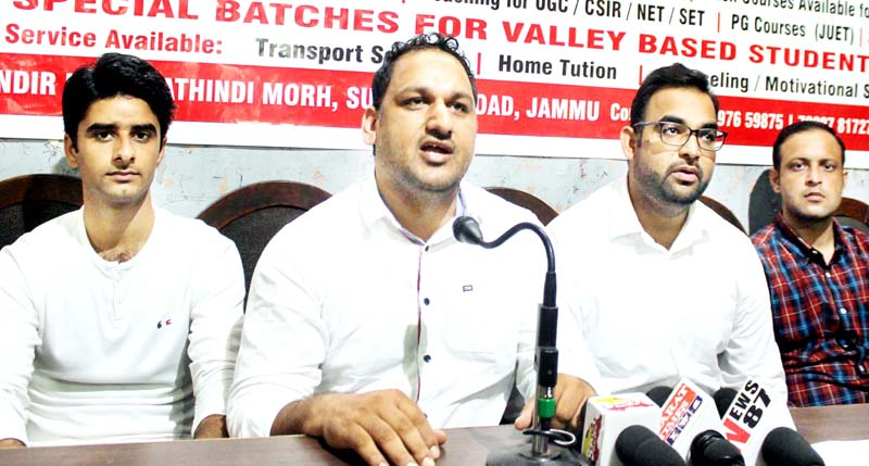 Office bearers of Voice Institute of Learning and Excellence addressing media persons in Jammu. -Excelsior/Rakesh