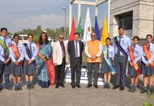 Students posing along with dignitaries during concluding ceremony of Annual Day on Tuesday.