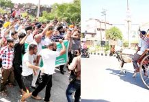 Transporters and operators taking out strong protest march in Jammu on Monday (L) and people travelling on horsecart in Kathua (R). -Excelsior/Rakesh/Pardeep
