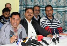 Members of JKPEECC addressing a press conference. —Excelsior/Shakeel