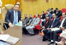 Chief Justice Gita Mittal speaking at a day-long programme for presiding officers & doctors at Srinagar on Saturday.