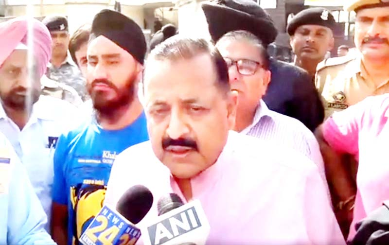 Union Minister Dr Jitendra Singh speaking to media persons outside a polling booth at Jammu on Monday.
