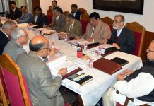 Governor Satya Pal Malik chairing SMVDSB meeting on Saturday.