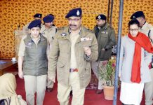 DGP Dilbagh Singh during his visit to Leh. DC Leh Avny Lavasa and SSP Leh Sargun Shukla are also seen in the picture.