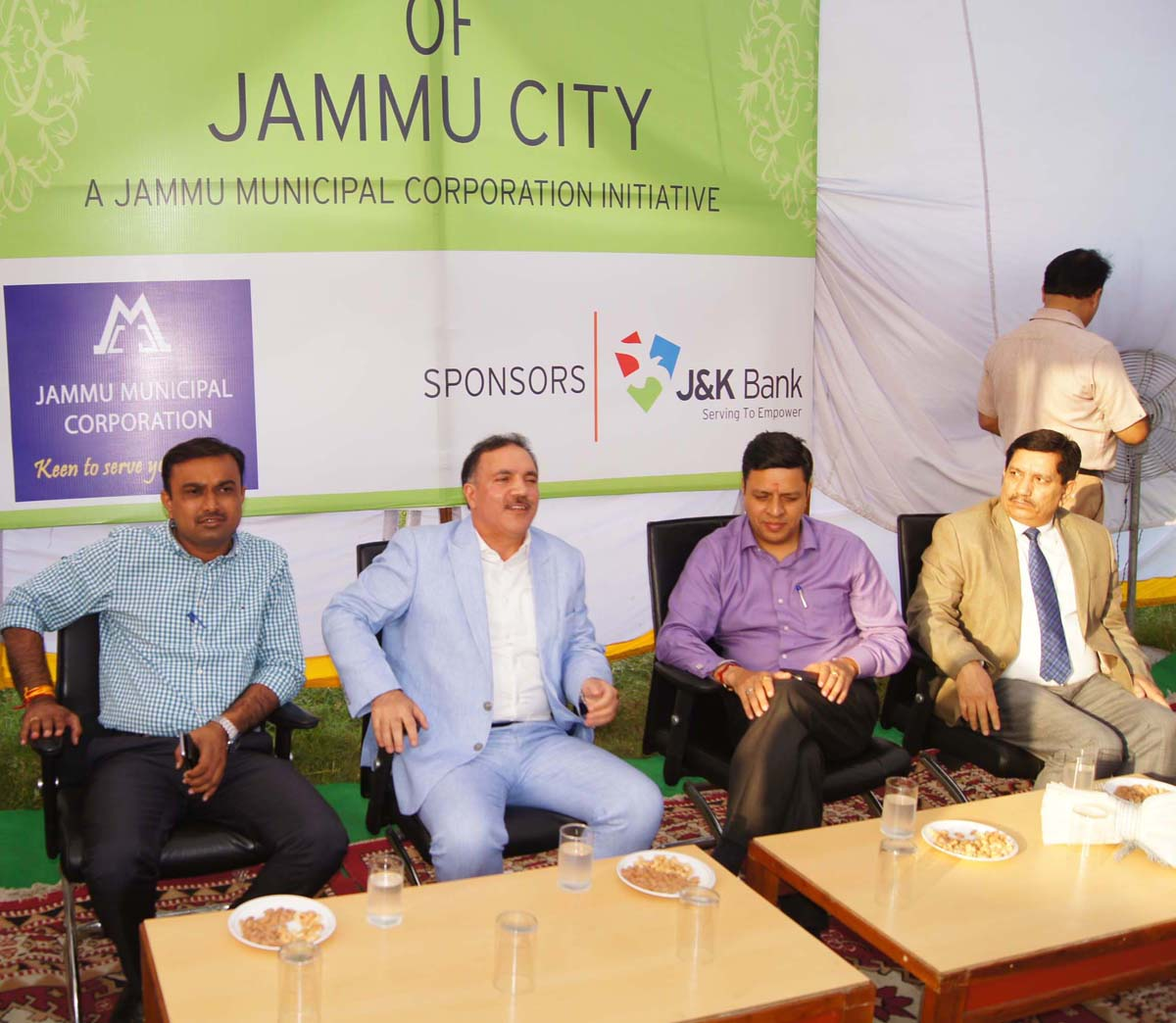 Divisional Commissioner Sanjeev Verma, Chairman-cum-CEO J&K Bank Parvaiz Ahmed and others during launch of beautification drive at Jammu on Wednesday.